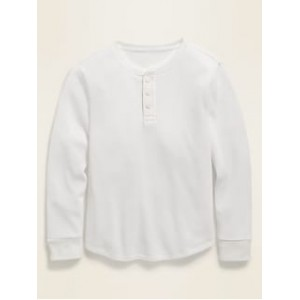 Thermal-Knit Long-Sleeve Henley Tee for Boys