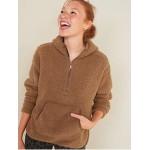 Cozy Teddy Sherpa Half-Zip Tunic Hoodie for Women