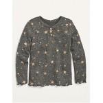 Cozy Plush-Knit Star-Print Henley for Toddler Girls