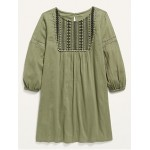 Long-Sleeve Lace-Trim Dress for Girls