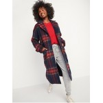 Oversized Soft-Brushed Plaid Button-Front Coat for Women