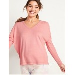 Oversized Cozy Plush-Knit V-Neck Lounge Top for Women