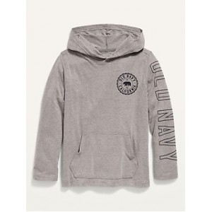 Logo-Graphic Lightweight Pullover Tee Hoodie for Boys