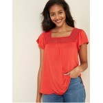 Square-Neck Lace-Trim Top for Women