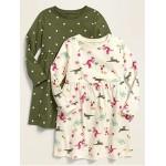 Jersey-Knit Long-Sleeve Dress 2-Pack for Toddler Girls