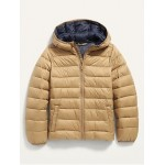 Hooded Lightweight Narrow-Channel Puffer Jacket for Boys
