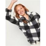 Relaxed Cozy Sherpa Half-Zip Sweatshirt for Women